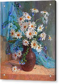 Bouquet Of Daisies In A Vase From Clay Acrylic Print