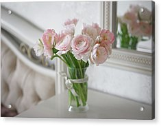 Bouquet Of Delicate Ranunculus And Tulips In Interior Acrylic Print