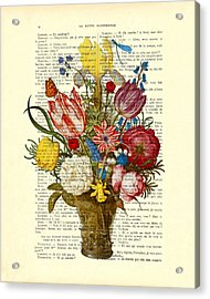 Bouquet Of Flowers On Dictionary Paper Acrylic Print