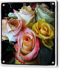 Acrylic Print featuring the photograph Bouquet Of Mature Roses At The Counter by Mr Photojimsf