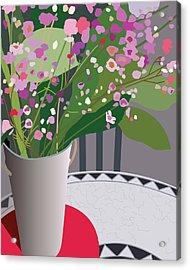 Bouquet On Bistro Acrylic Print by Marian Federspiel