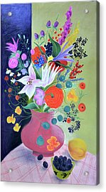 Bouquet With Dahlias And Blackberries Acrylic Print by Tatjana Krizmanic