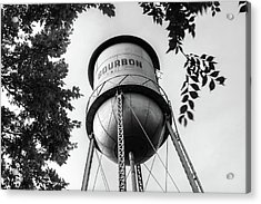 Acrylic Print featuring the photograph Bourbon Missouri Usa Vintage Water Tower - Black And White by Gregory Ballos