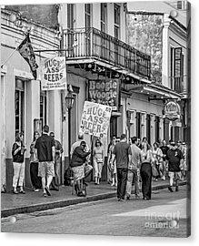 Bourbon Street - Let The Good Times Roll Bw Acrylic Print by Steve Harrington