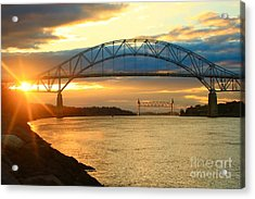Bourne Bridge Sunset Acrylic Print