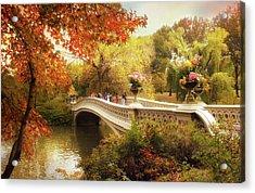 Bow Bridge Autumn Crossing Acrylic Print by Jessica Jenney