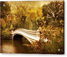 Bow Bridge Autumn Gold Acrylic Print by Jessica Jenney