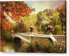 Acrylic Print featuring the photograph Bow Bridge Crossing by Jessica Jenney
