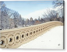 Bow Bridge In Winter The Central Park New York Acrylic Print by Design Remix