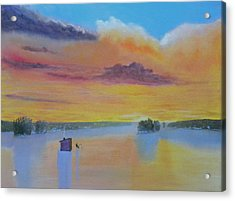 Bow Lake Ice Fishing Acrylic Print