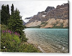 Bow Lake Scenic With The Crawfoot Glacier Acrylic Print by George Oze