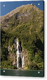 Acrylic Print featuring the photograph Bowen Falls Milford Sound by Gary Eason