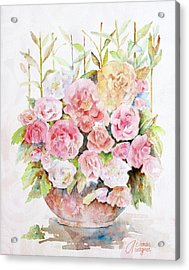 Bowl Full Of Roses Acrylic Print