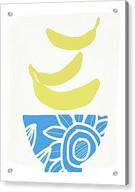 Bowl Of Bananas- Art By Linda Woods Acrylic Print by Linda Woods