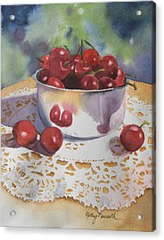 Bowl Of Cherries Acrylic Print by Kathy Nesseth