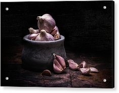 Bowl Of Garlic Acrylic Print by Tom Mc Nemar