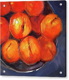 Acrylic Print featuring the painting Bowl Of Peaches Still Life by Nancy Merkle