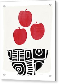 Bowl Of Red Apples- Art By Linda Woods Acrylic Print