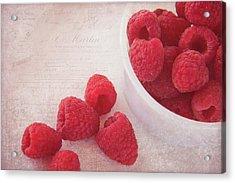 Bowl Of Red Raspberries Acrylic Print