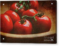 Bowl Of Tomatoes Acrylic Print by Toni Hopper