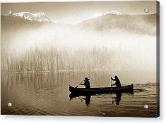 Bowron Lks. Canoe Acrylic Print by John  Bartosik