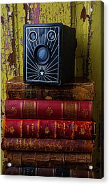 Box Camera And Books Acrylic Print by Garry Gay