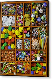 Box Full Of Colorful Objects Acrylic Print