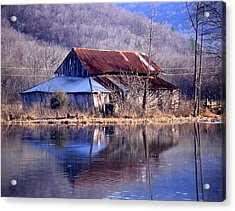 Boxely Barn Reflection Acrylic Print