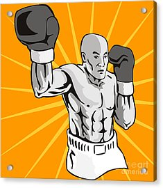 Boxer Boxing Knockout Punch Retro Acrylic Print by Aloysius Patrimonio