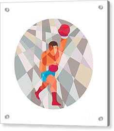 Boxer Boxing Punching Circle Low Polygon Acrylic Print by Aloysius Patrimonio