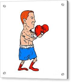 Boxer Fighting Stance Cartoon Acrylic Print by Aloysius Patrimonio