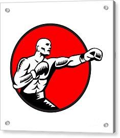 Boxer Jabbing Punching Circle Woodcut Acrylic Print