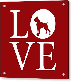 Boxer Love Red Acrylic Print by Nancy Ingersoll