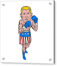 Boxer Pose Usa Flag Etching Acrylic Print by Aloysius Patrimonio