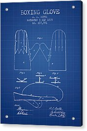 Boxing Glove Patent From 1878 - Blueprint Acrylic Print by Aged Pixel