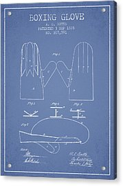 Boxing Glove Patent From 1878 - Light Blue Acrylic Print by Aged Pixel