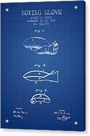 Boxing Glove Patent From 1885 - Blueprint Acrylic Print by Aged Pixel