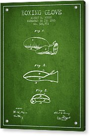 Boxing Glove Patent From 1885 - Green Acrylic Print by Aged Pixel