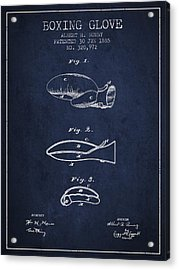 Boxing Glove Patent From 1885 - Navy Blue Acrylic Print by Aged Pixel