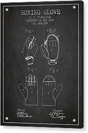Boxing Glove Patent From 1889 - Charcoal Acrylic Print by Aged Pixel