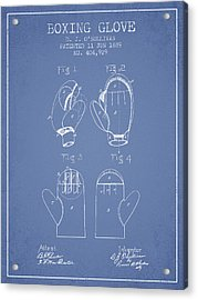 Boxing Glove Patent From 1889 - Light Blue Acrylic Print by Aged Pixel