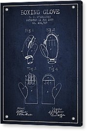 Boxing Glove Patent From 1889 - Navy Blue Acrylic Print by Aged Pixel