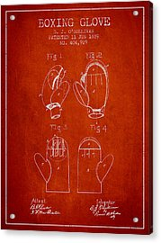 Boxing Glove Patent From 1889 - Red Acrylic Print by Aged Pixel