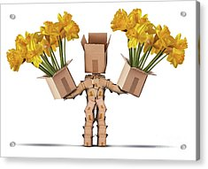 Boxman Character Holding Two Boxes Of Flower Acrylic Print by Simon Bratt Photography LRPS