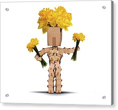 Boxman Holding Bunches Of Daffodils Acrylic Print by Simon Bratt Photography LRPS