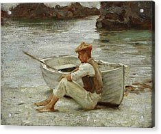 Acrylic Print featuring the painting Boy And Boat  by Henry Scott Tuke