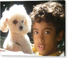 Acrylic Print featuring the photograph Boy And Dog by Beto Machado