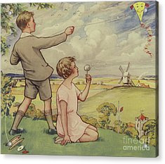 Boy And Girl Flying A Kite Acrylic Print by English School