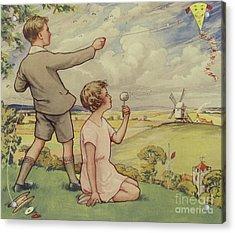 Boy And Girl Flying A Kite Acrylic Print by English School