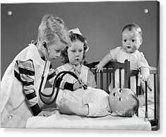 Boy And Girl Playing Doctor, C.1950s Acrylic Print by H. Armstrong Roberts/ClassicStock